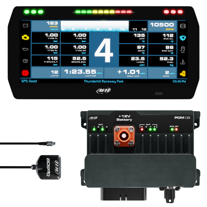 "AiM Sports PDM08 with 10"" Road / Street Icons Display GPS Logger Kit"