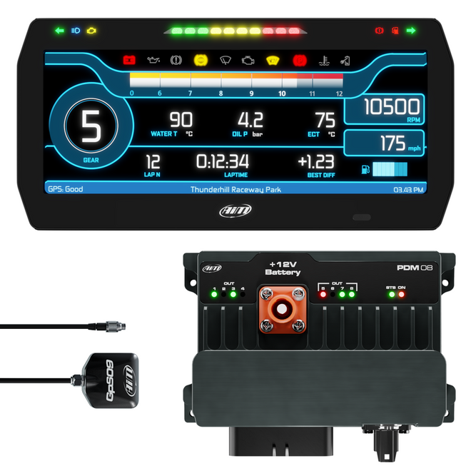 """AiM Sports PDM08 with 10"""" Race Icons Display GPS Data Logging Kit"""