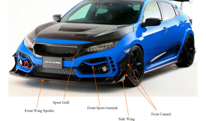 J's Racing Honda Civic Type R - Side Wing for front wing spoiler