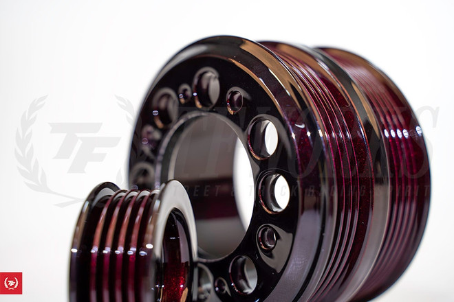 TF Lightweight Aluminum Pulley Kit Mazda RX7 FD3S 13B - Wine Berry