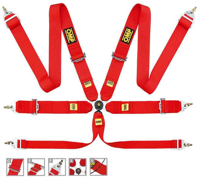OMP 6 Point Safety Racing Harness: 804 LEGGERA