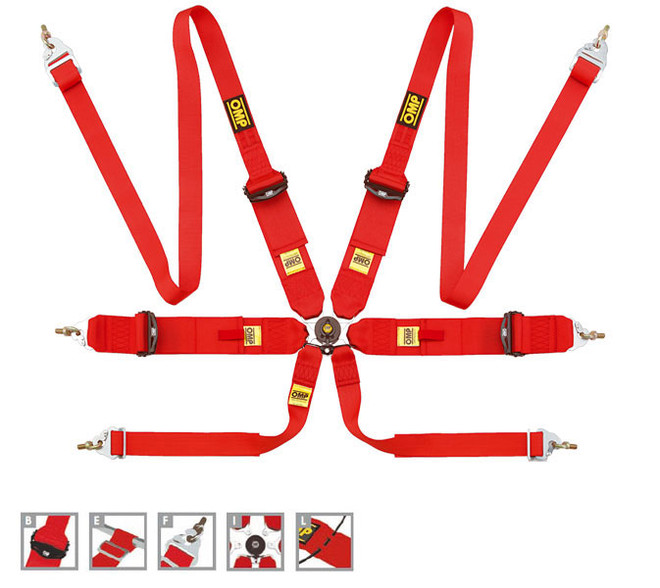 OMP 6 Point Safety Racing Harness: 806 HANS