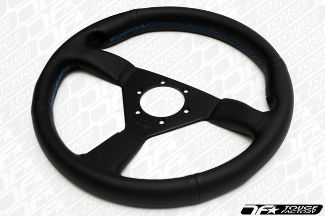 Personal Neo Eagle Steering Wheel 340mm Black Leather Blue Stitching
