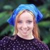 blue bandana on head