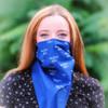 blue bandana on face
