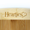 Hearties Logo on cutting board