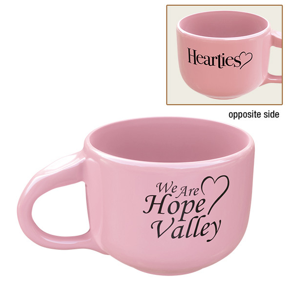 Hearties 20 ounce coffee cup showing both logos on each side