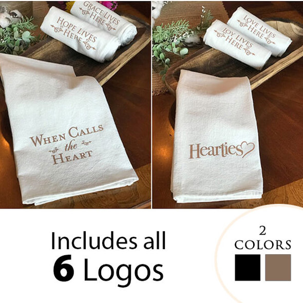 A set of three When Calls the Heart tea towels available in 2 color options