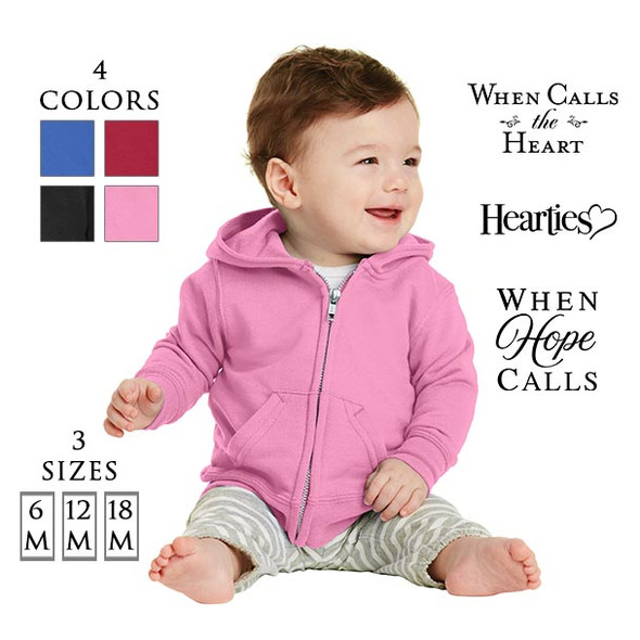 Infant Core Fleece Full-Zip Hooded Sweatshirt with 3 optional When Calls the Heart Logos