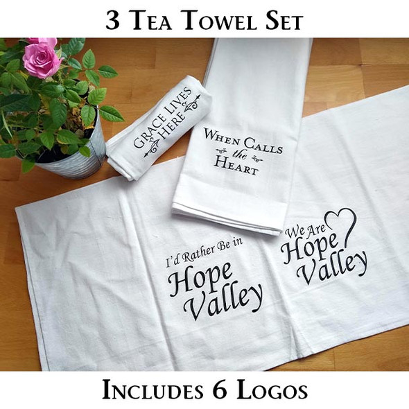 A set of three When Calls the Heart tea towels