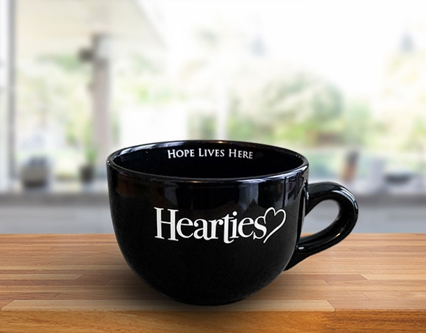 20oz. BLACK - Large Coffee Cup - Hearties