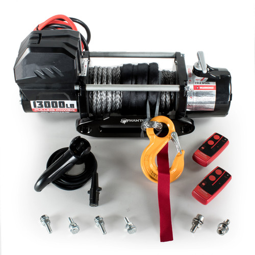 ST BLACK 13000LB 12v WINCH WITH SYNTHETIC ROPE AND WIRELESS REMOTE