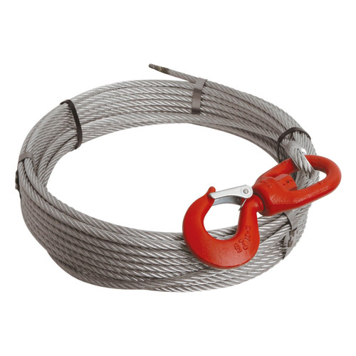 WIRE WINCH ROPE 10MM X 20M WITH SWIVEL SAFETY HOOK