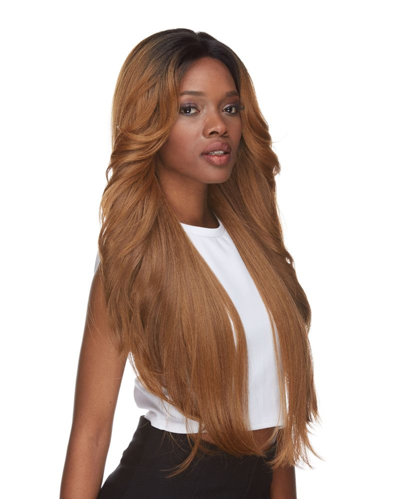 Cameron | Sepia | Lace Front  4 X 4 Parting side view