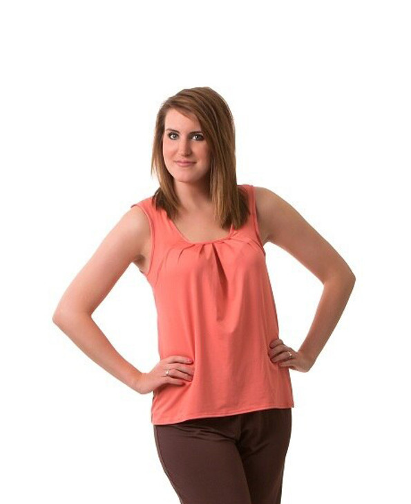 Sleeveless Top with Pleated Front