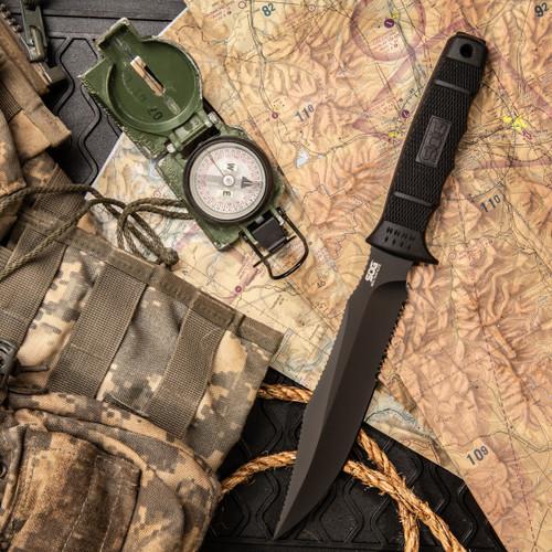 SEAL Team Elite - Clip Point, Black, Serrated