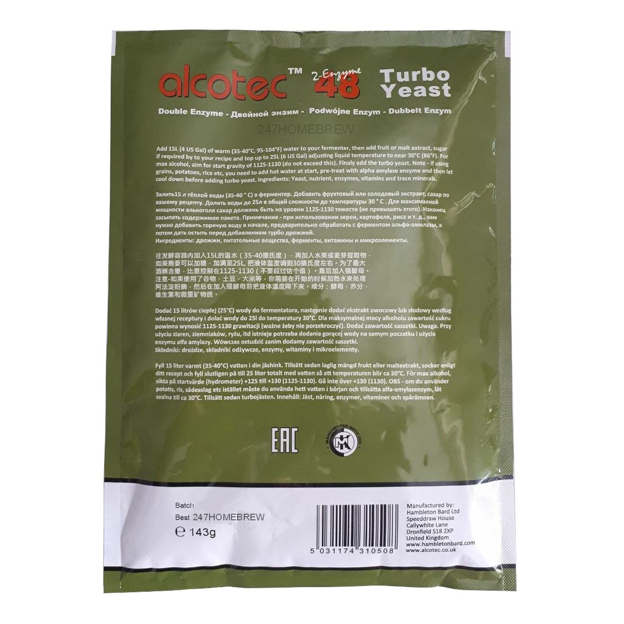 Alcotec 48 Fruit & Grain Turbo Yeast 20% ABV with Double Enzyme