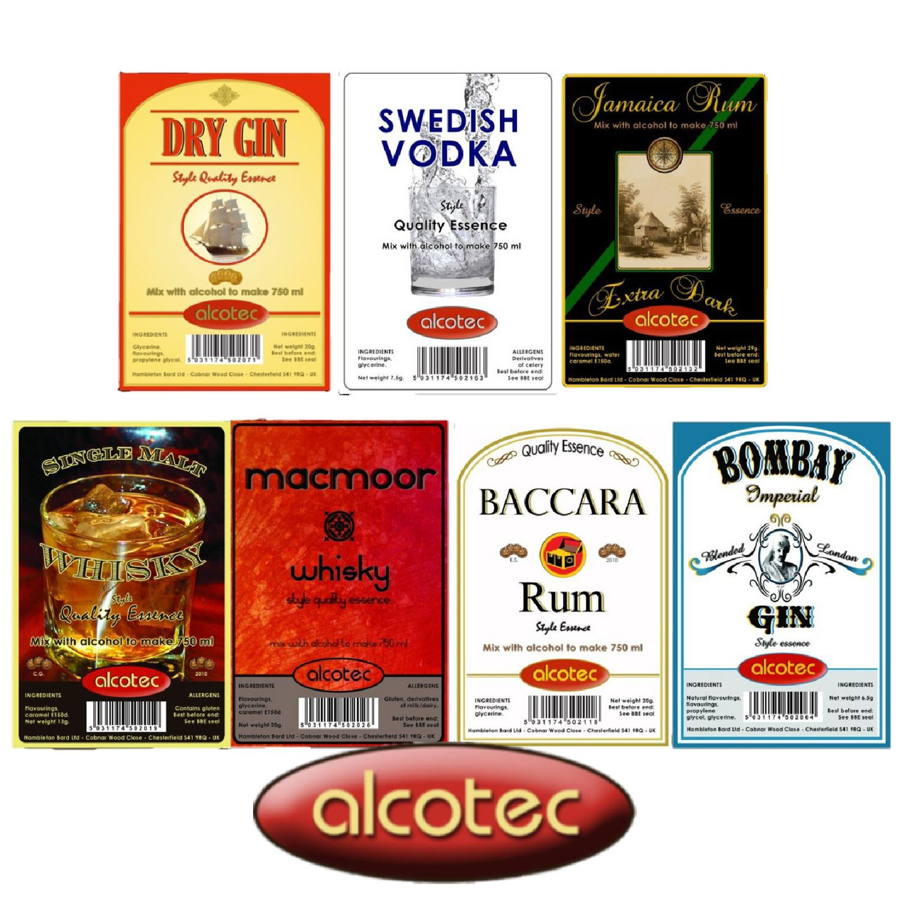 Alcotec Essences Baccara White Rum 20g Flavours 750ml of Vodka Spirit Moonshine