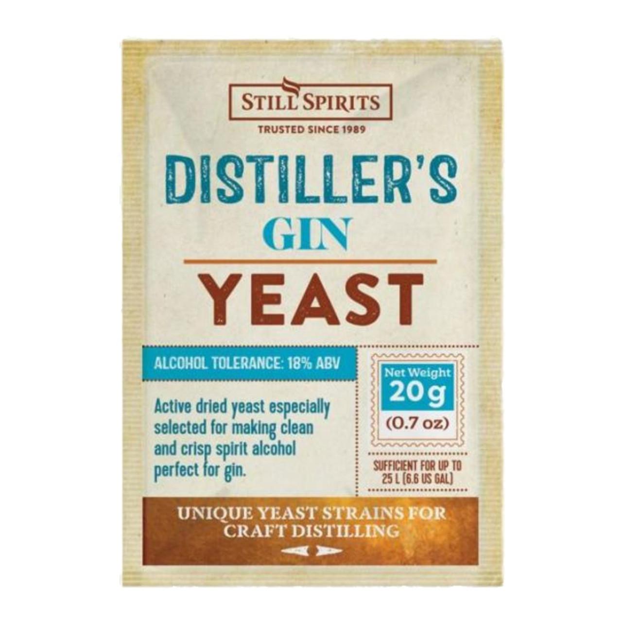 Still Spirits Distillers Gin Yeast 20g for 25L 18% ABV Maximises Botanicals