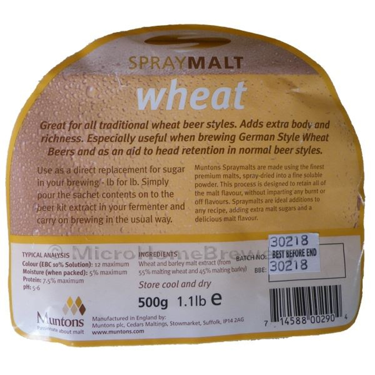 Muntons Spraymalt WHEAT 500g 100% Malt Extract Home Brew Beer Improver