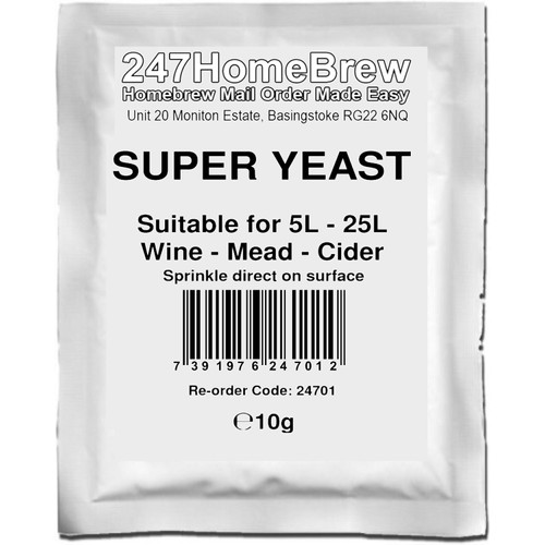 Super Wine Yeast and No-Rinse Steriliser Pack for Wine, Cider, Mead etc