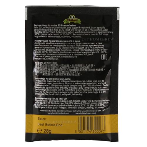 7 Day Wine Yeast/Nutrient (25L)