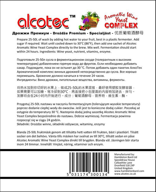 Alcotec Aromatic Turbo Wine Yeast Complex