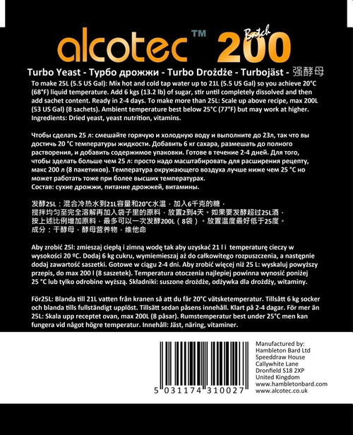 Alcotec 200 TT Turbo Yeast Commercial Use