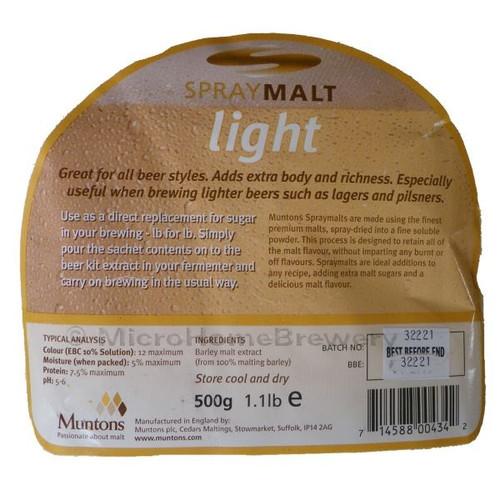Muntons Spraymalt Light 500g 100% Malt Extract Home Brew Beer Improver