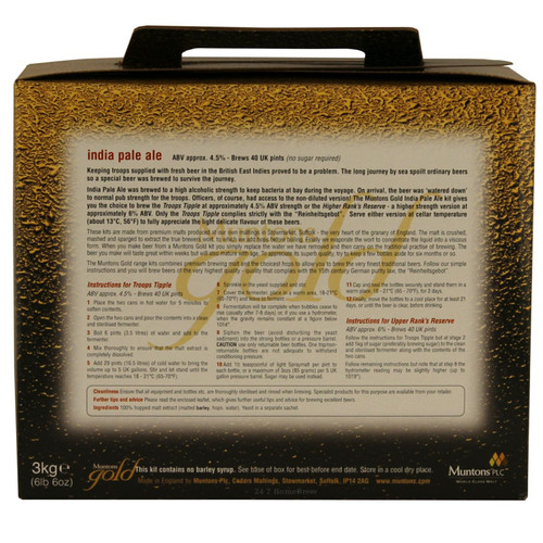 Muntons Gold India Pale Ale 3kg 40 pint 23L 4.5% or 6% ABV - Homebrew Beermaking