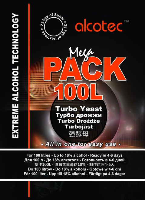 Alcotec Mega Pack 100L Turbo Yeast AND MegaKlar 100L 24hr Finings for 100L