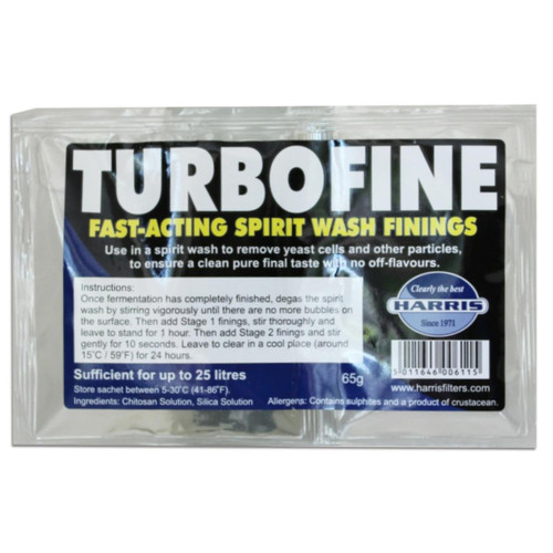 Harris Turbofine 24hr Spirit Wash 2 part Finings for 25L 65g