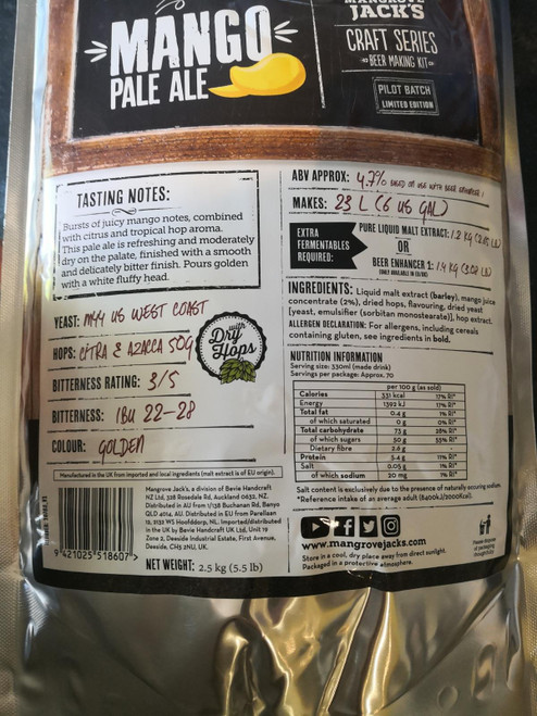 Mangrove Jacks Mango Pale Ale Craft Beer Kit Pouches 23L 4.7% ABV