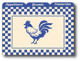 Blue French Country Rooster Recipe Card Dividers, Set of 12
