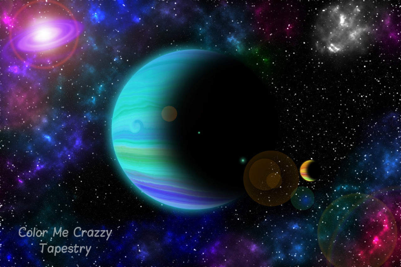Galaxy Of Colorful Planets And Stars Tapestry Large 150 X 130