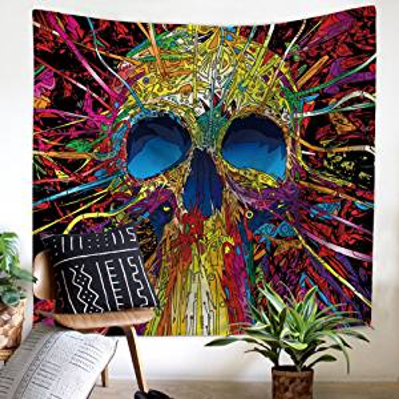 Skull Tapestry Gothic Magical Skeletons Colorful Wall Hanging Wall Art For Living Room Bedroom Dorm Large 150 X 200 Color Me Crazzy