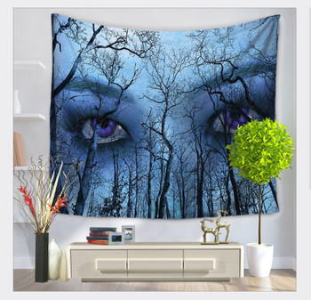 Blue Forest With Mystic Eyes Tapestry - Large 150 x 130 cm