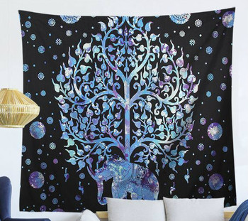 Blue And Purple Elephant Mandala- Large 150 x 130 cm Wall Hanging For Dorm Room, Bedroom, Home Decor