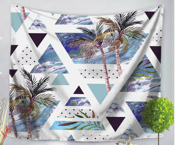 Abstract Palm Tree - Triangles - Geometric - Summer - Tapestry Design - Large 150 x 130 cm