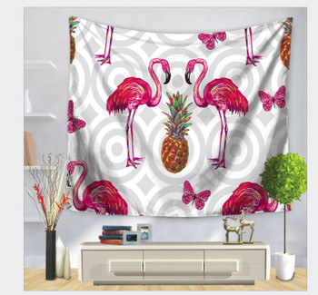 Pineapple and Flamingo Tapestry - Large 150 x 130 cm