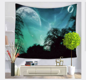 Galaxy Night Sky - Cosmic Moon -  Planet - Tapestry - Large 150 x 130 cm