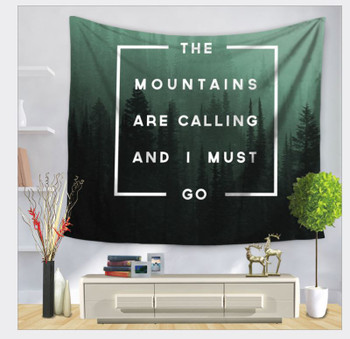 Mountains Are Calling - Saying - Forest - Tapestry - Large 150 x 130 cm