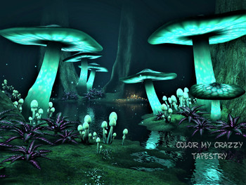 Fantasy Dark Forest With Trippy Green Glowing Mystic Mushrooms Tapestry - Large 150 x 130 cm