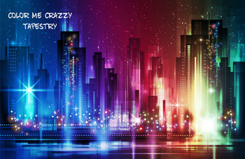 Colorful City Skyline At Night With Lights Tapestry - Large 150 x 130 cm