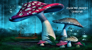 Fantasy Mushrooms with a Fairy Swing in Enchanted Forest Tapestry - Large 150 x 130 cm