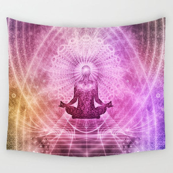 Lotus Position - Meditating Yoga - Pink - Geometrical Tapestry Large 150 x 130 cm
