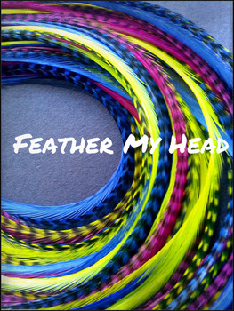 "Feather Hair Extensions - Do It Yourself (DIY) Kit - 16 Pc Thin Feathers - Long 9""-12"" (23-30cm) Pink Yellow Blue - Lif'es A Beach Collection - Surfer Girl"