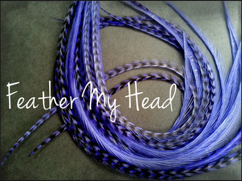 Feather Hair Extension - 10 Piece 9 - 12 inches Long (23-30 cm) Grizzly Stripe / Solid Mix - Iris Purple - Brights