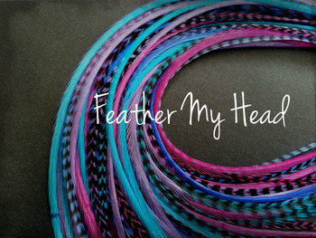 """Feather Hair Extensions - 16 Pc Mix Of Thin Fashion Euro Feathers - Long 9"""" -12"""" (23-30cm) Pink Purple Blue - Life's A Beach Collection - Beach Party - Optional Do It Yourself Kit"""