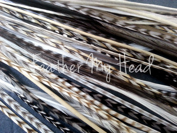 "Feather Hair Extensions - 16 Pc Mix Of Thin Fashion Euro Feathers - Long 9"" -12"" (23-30cm) Mixes Of Creams Taupe Whites - Life's A Beach Collection Collection - Island Girl - Optional Do It Yourself Kit"